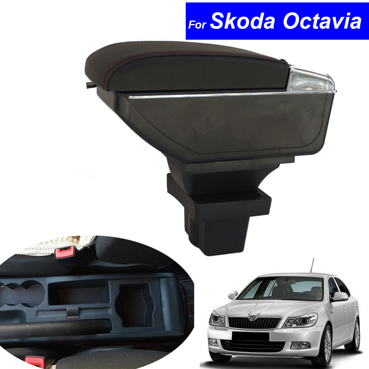 Leather Car Center Console Armrests Storage Box for Skoda Octavia 2009 2010 2011 2012 2013 2014 2015 2016 Free Shipping free shipping 2012 2014 skoda fabia high quality console avoid light pad dashboard protection pad car styling
