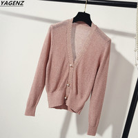 2017 New Summer Autumn V neck Knit Cardigan Short Sweater Long sleeved Women's Costume Ultra Thin Casual Tops YAGENZ New Series