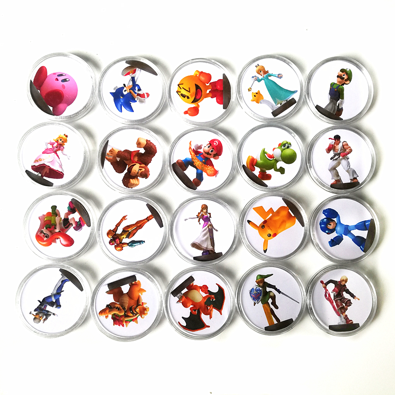 20Pcs/lot NFC Games Card Of Amiibo For Switch NS Wiiu NFC Tag Collection Coin Printed Sticker Ntag215 For Super Smash Bros