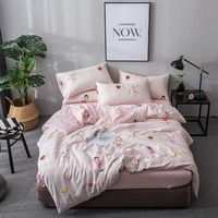 Home Textile Girl Kid Teen Bedlinen Pink Strawberry Banana Duvet Cover Pillowcase Stripe Bed Sheet Queen Full Bedding Set 4Pcs
