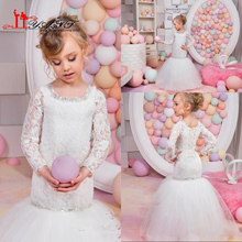 2016 Vintage Lace Mermaid Flower Girls Dresses for Weddings Crew Neck Long Sleeves Wedding Party Pageant Dresses for Girls