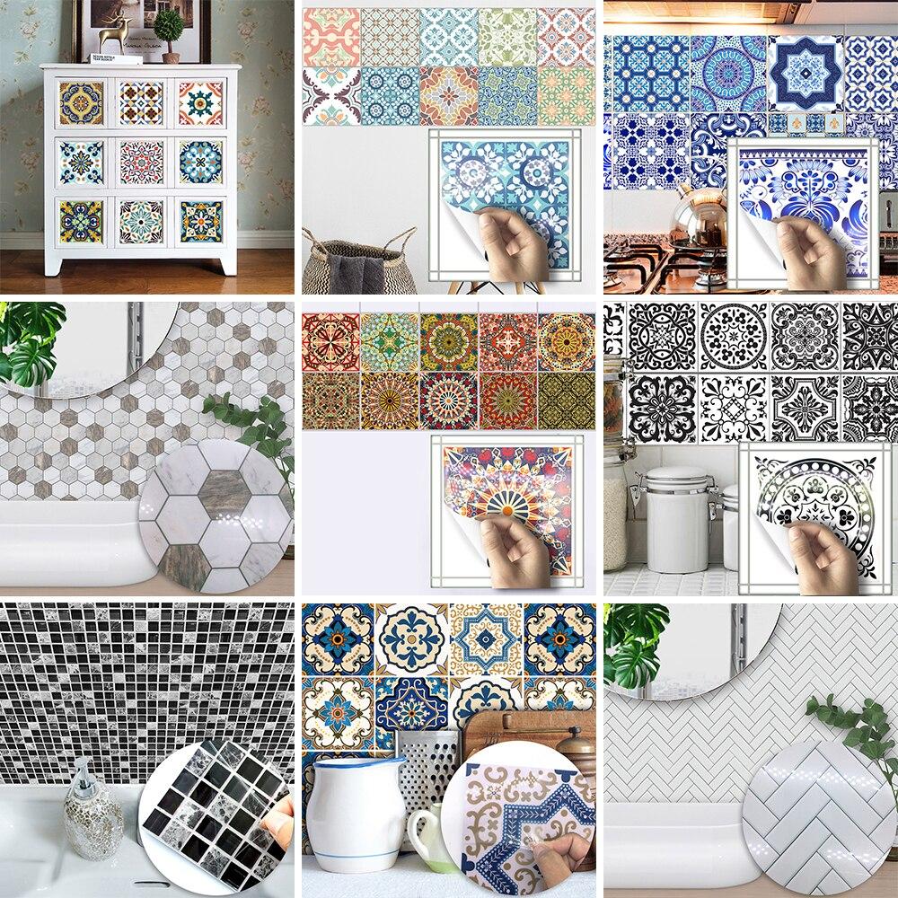 15 15cm Wholesale PVC Waterproof Self adhesive Furniture Kitchen Mediterranean Moroccan Arab Herringbone Tile Sticker