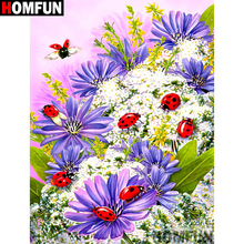 HOMFUN Full Square/Round Drill 5D DIY Diamond Painting Ladybug flower 3D Embroidery Cross Stitch Home Decor A21350