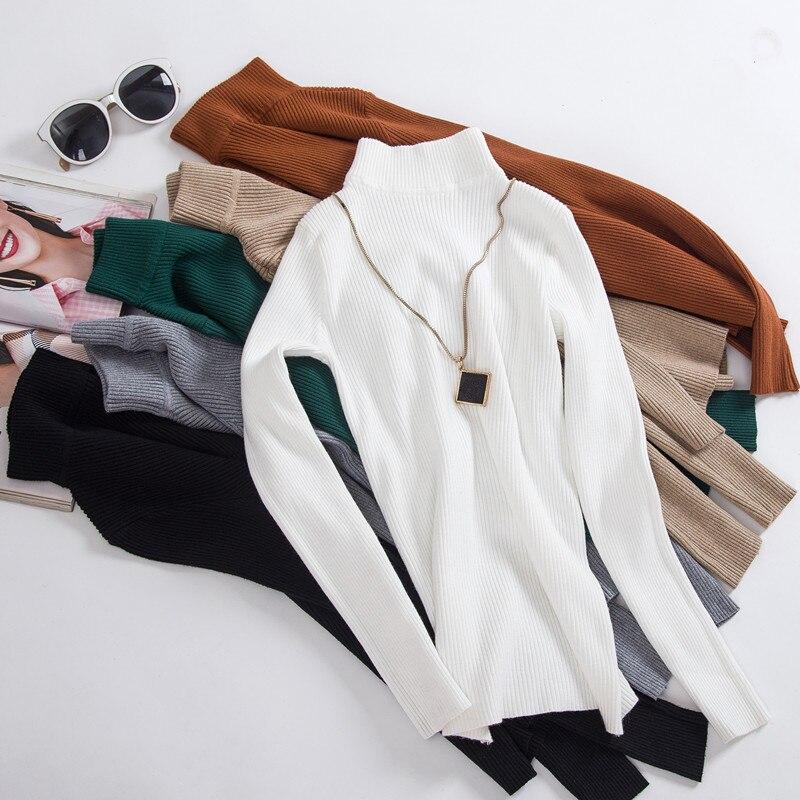 10 Farben Auf Verkauf Frühling Frauen Gestrickte Rollkragen Pullover Pullover Casual Weiche Kragen Jumper Mode Schlanke Warme Weibliche Pullover Elegant Und Anmutig