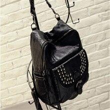 2016 sac dos новый приток заклепки плеча сумку мягкая кожа сумка рюкзак туризм бесплатная доставка рюкзаки для девушки