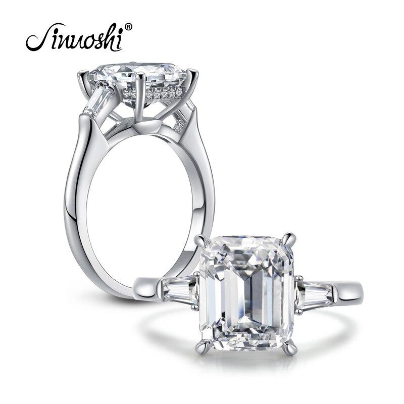 AINOUSHI 4 Carat Smaragdový prsten Tři kameny 925 Euro Stříbrné čtvercové prsteny Sona Zásnubní prsten Ženy Svatební šperky Aneis De