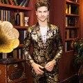Бесплатная Доставка 2016 мужская мужчина моды случайные Новый 2016 золото стилист властную натуру нуворишей костюм blazer