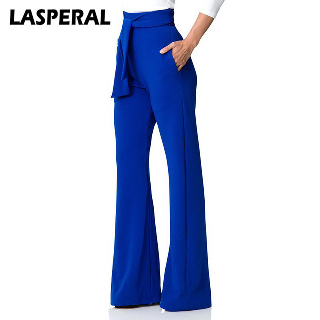 LASPERAL модные Повседневные штаны Для женщин широкие брюки расклешенные штаны Высокая Талия бренд Винтаж женский Туника штанины внизу 2018 Весна