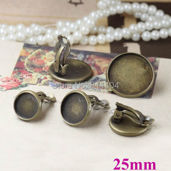 25mm Vintage Antique Bronze Plated Blank Bases Round Bezel Cabochon Settings Clip Earrings Blank Findings Wholesale