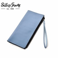 Sally Young 2017 New Bag Design Pattern Stylish Leather Wallet Bag Candy Color Women Wallet VKP1503