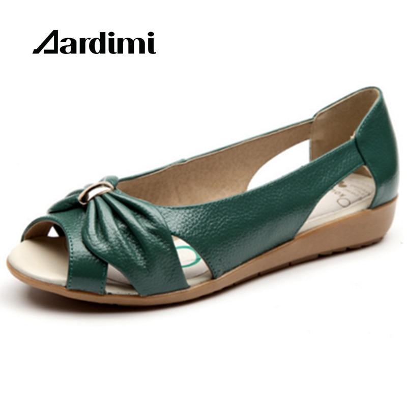 Women Shoes Plus size 35-42 Genuine Leather Sandals Women Sandals Fashion 2017 Summer Flats Shoes Woman Sandals Sandalias Mujer цены онлайн