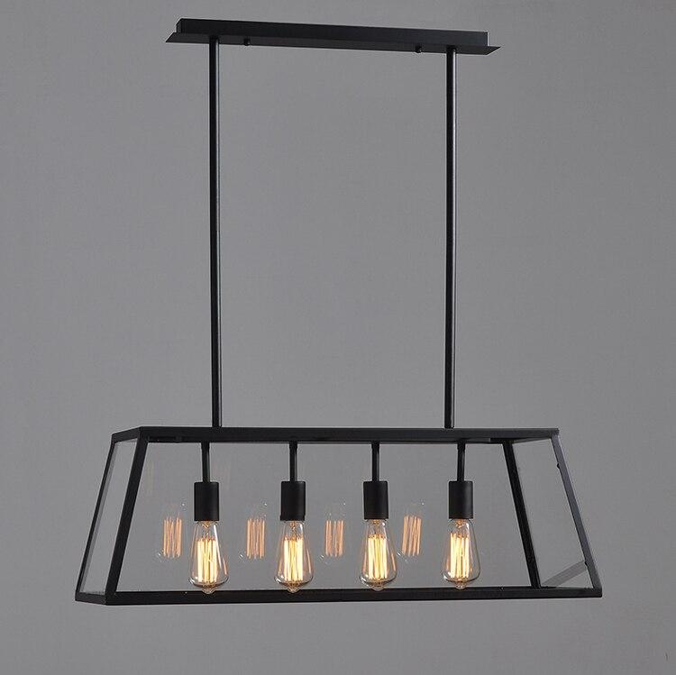 4 Lights Glass Box Vintage Chandelier Lighting Pendant Lamp Metal Ceiling Fixture Light Hanging Lamps