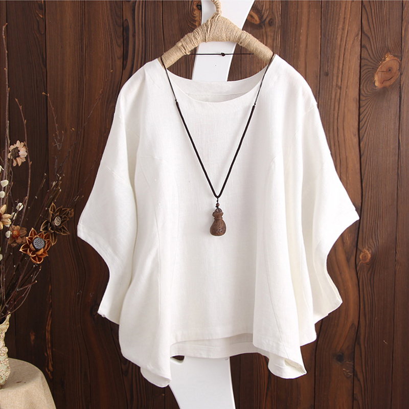 SCHMICKER 2018 Plus Size Short Batwing Sleeve Party Blouse Summer Women Casual Solid O Neck Cotton Linen Baggy Basic Tee-Shirts 1