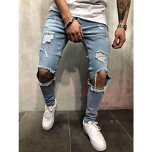 Fashion Man Hole Jeans Pencil Pants Pockets Full Length Slim Denim Pants Casual Men Streetwear New недорого