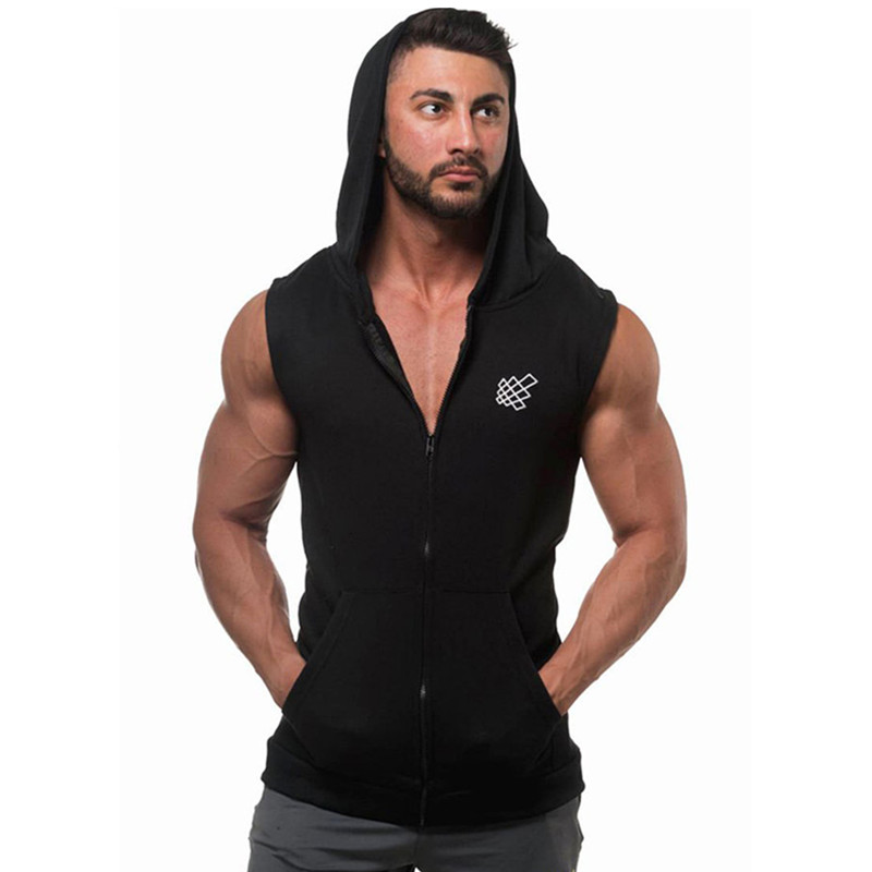 2019 New Arrival Cotton Hoodie Sweatshirts Fitness Clothes Bodybuilding Tank Top Men Sleeveless Sporting Shirt Casual Waistcoat