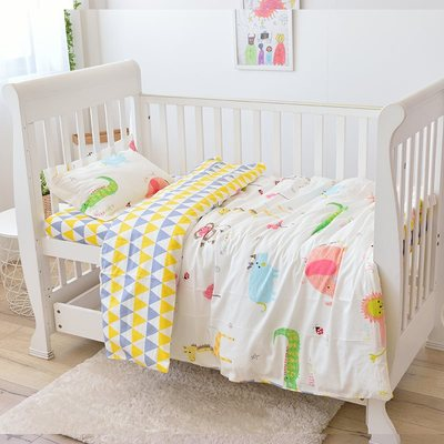 New Arrive Animal Baby Bedding Set Classical Baby Bed Linens Set Newborns Cot Kit,Duvet/Sheet/Pillow, With Filling
