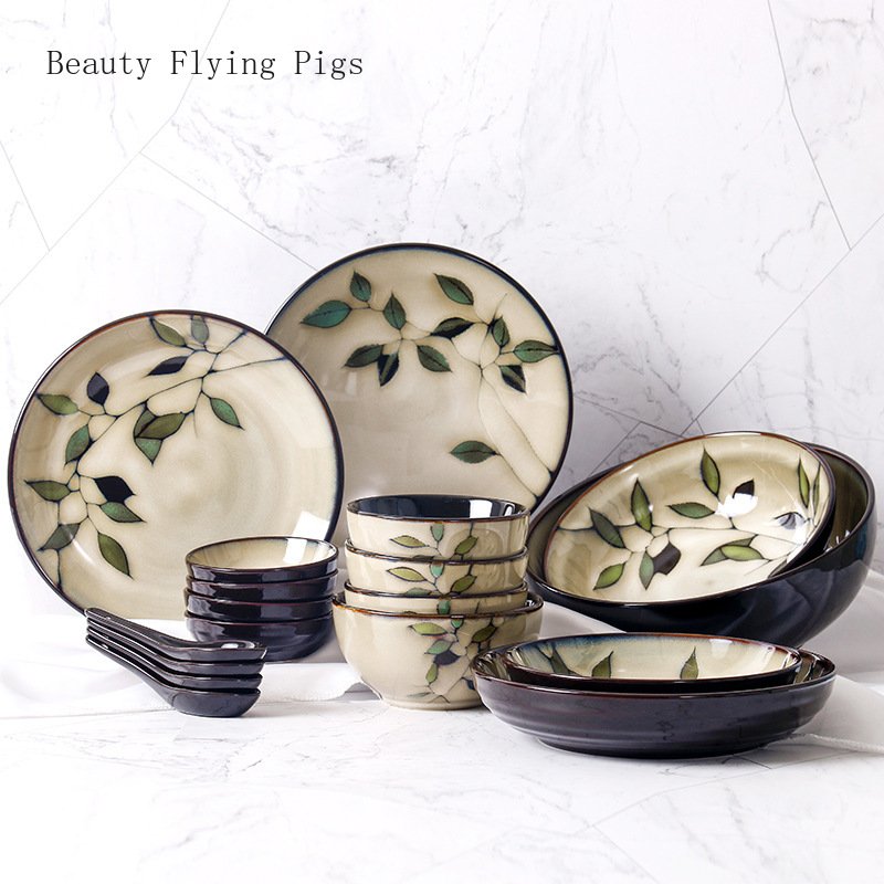 Hand-Painted Japanese Ceramic Dishes Set