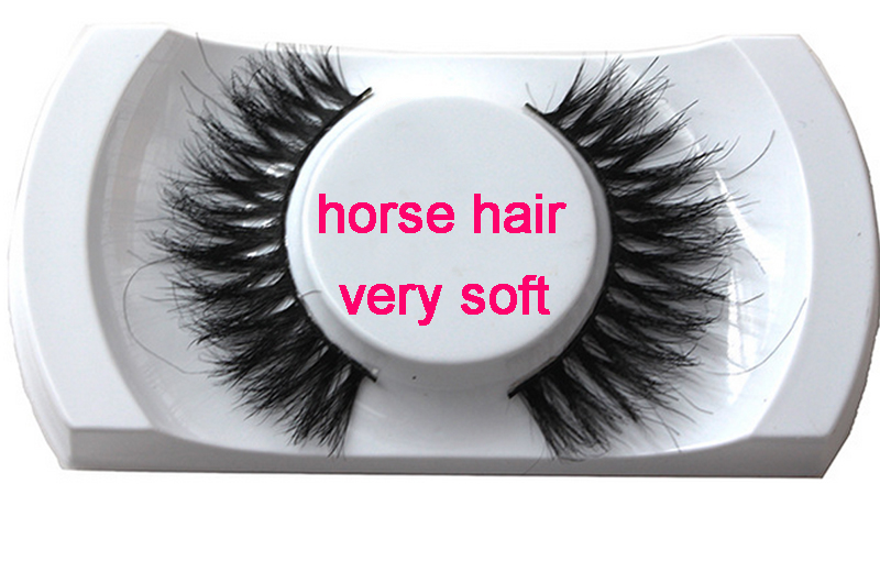Horse Hair Eyelashes natural style horse fur lashes makeup soft band Handmade Real Luxur ...