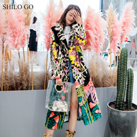 SHILO GO Fur Coat Womens Winter Fashion whole real Mink Fur long coat lapel collar luxury leopard tropical rainforest coat