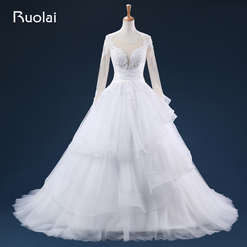 New Arrival Wedding Dresses Long Sleeves Scoop Tulle Appliques Zip Back Cross Sash Beaded Bodice Tiered Bridal Gown ASAFN24