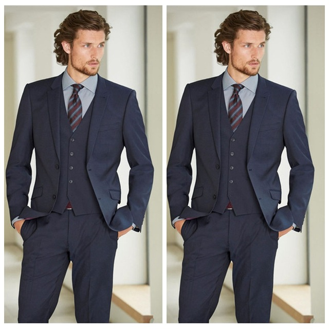 Causal 3 Pieces Men Formal Groom Tuxedos With Notched Lapel Two Buttons Wedding Formal Party Groomsmen Suits (Jacket+Vest+Pants)