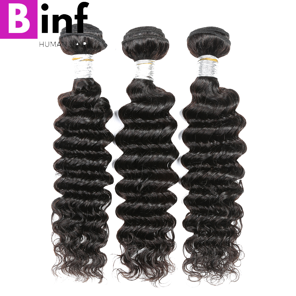 BINF Hair Peruvian Deep Wave Human Hair Weave 100% Non Remy Hair Extensions 3Pc/lot Natural Color 1B Can Be dye Hair Bundles