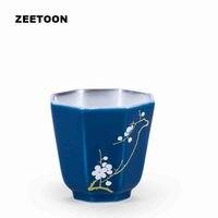 75ml Pottery Gentleman Teacup 999 Sterling Silver Plum Orchid Bamboo Chrysanthemum Master Cup Tea Bowl Silvering Kung Fu Tea Set
