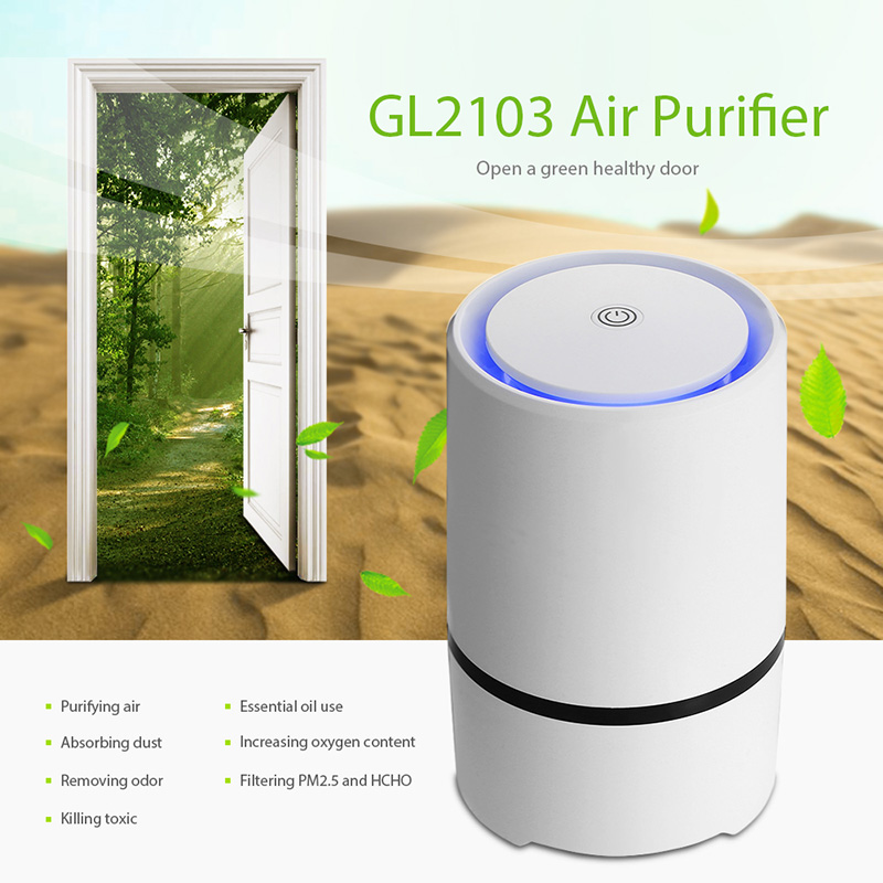 цена GL2103 Mini USB Air Purifier Compact Odor Allergen Eliminator Anion Sterilization Purifier for Home Office Dust Smoke Pets
