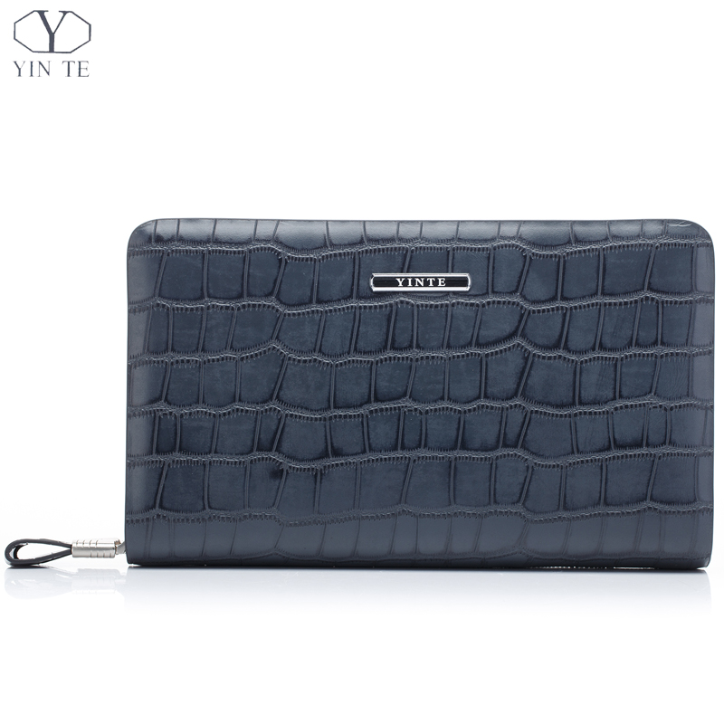 YINTE Fashion Men's Clutch Wallets Leather England Style Clutch Bag Passport Purse Men Card Holder Crocodile Prints Bags T016-1 men s wallet genuine leather famous brand england style black clutch bag passport purse men card holder crocodile prints