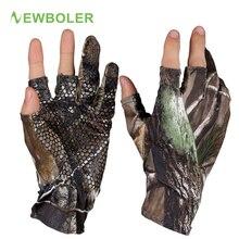 NEWBOLER без пальцев охотничьи рыболовные камуфляжные Гелевые перчатки камуфляжные удобные нескользящие эластичные Рыболовные Перчатки Нескользящие