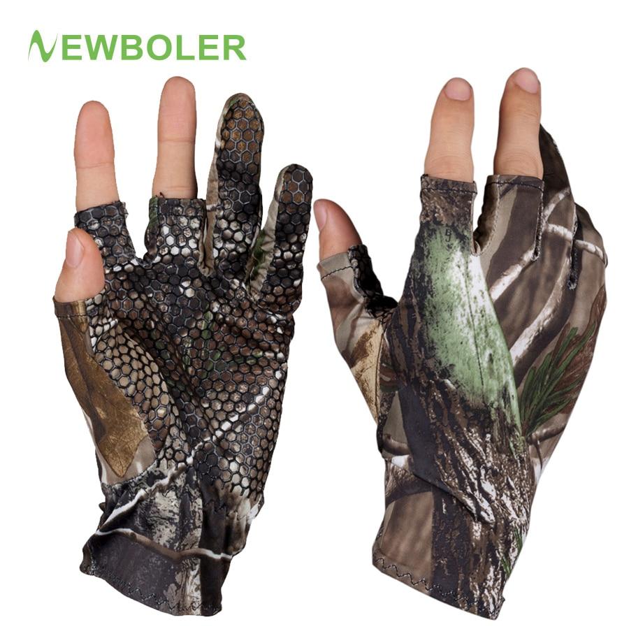 NEWBOLER Fingerless Hunting Fishing Camo Gel Glove Camouflage Comfortable Anti Slip Elastic Fishing Gloves Skidproof Nonslip