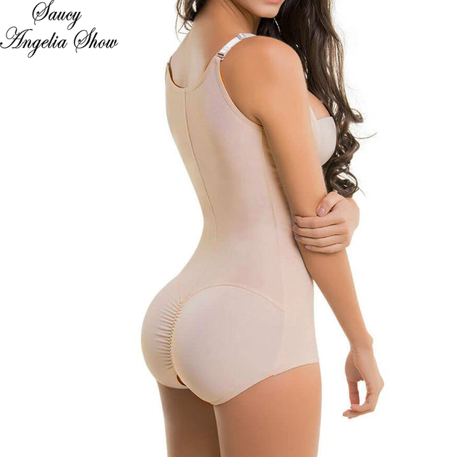 6baf39a0172 SAUCY ANGELIA Women Sexy Nude Color Mesh Waist Trainer Tummy Control Bodycon  Corsets Cincher Shapewear Bodysuits Butt Lifter 6XL