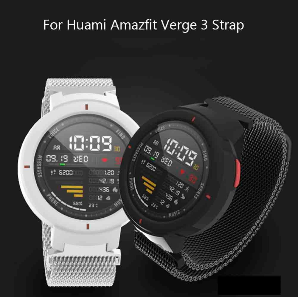 Metal Milanese Loop Band for Xiaomi Huami AMAZFIT Verge 3 20MM Smart Watch Replace Bracelet 20mm Belt Replacement Accessories