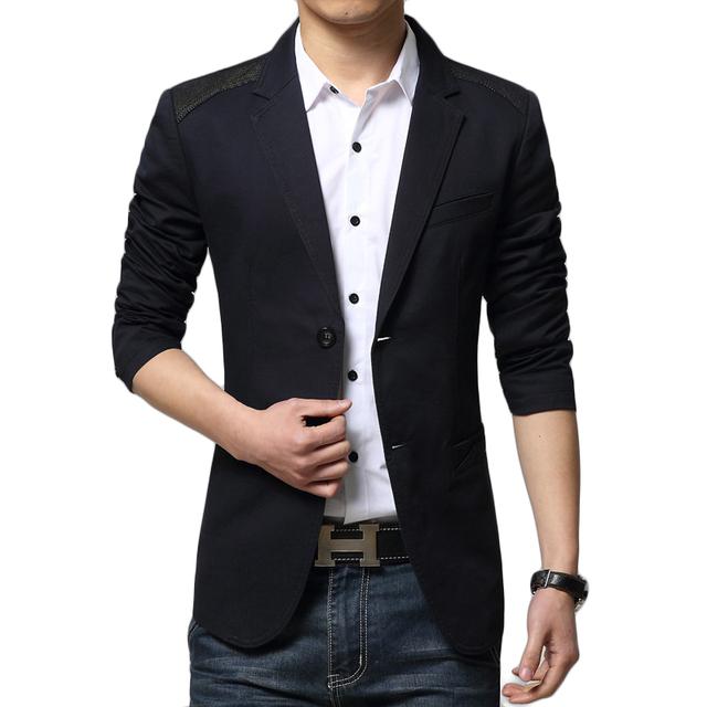 Mens Blazers Nuevas Llegadas 2016 Patchwork Mens Chaqueta de la Marca de Lujo diseño de Dos Botones de Los Hombres Traje Chaqueta Casual Slim Fit Blazer hombres
