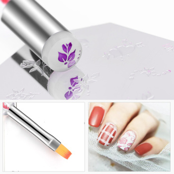 1pc Double End Silicone Nail Art Painting Gel Brush Stamper Head Manicure UV Gel Polish Accessory New Nail Salon Drawing Pen