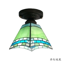 Blue Red Green Mediterranean European small ceiling glass Tiffany minimalist kitchen with balcony aisle lighting