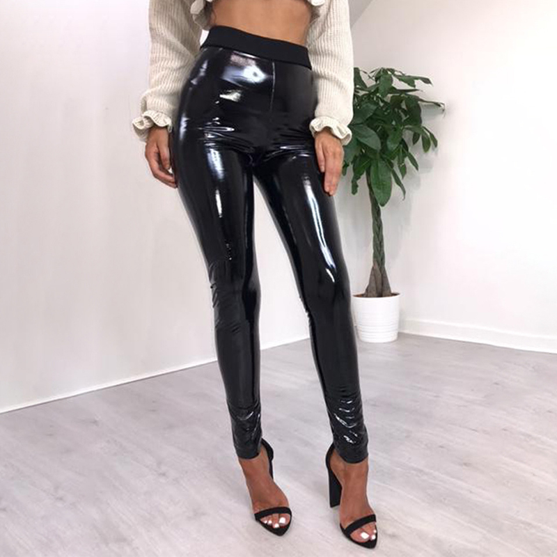 Women High Waist Elastic Skinny Pu Leather   Pants     Capris   Stretchy PVC Faux Trousers Female Skin Tight Wet Look Sexy Small Feet