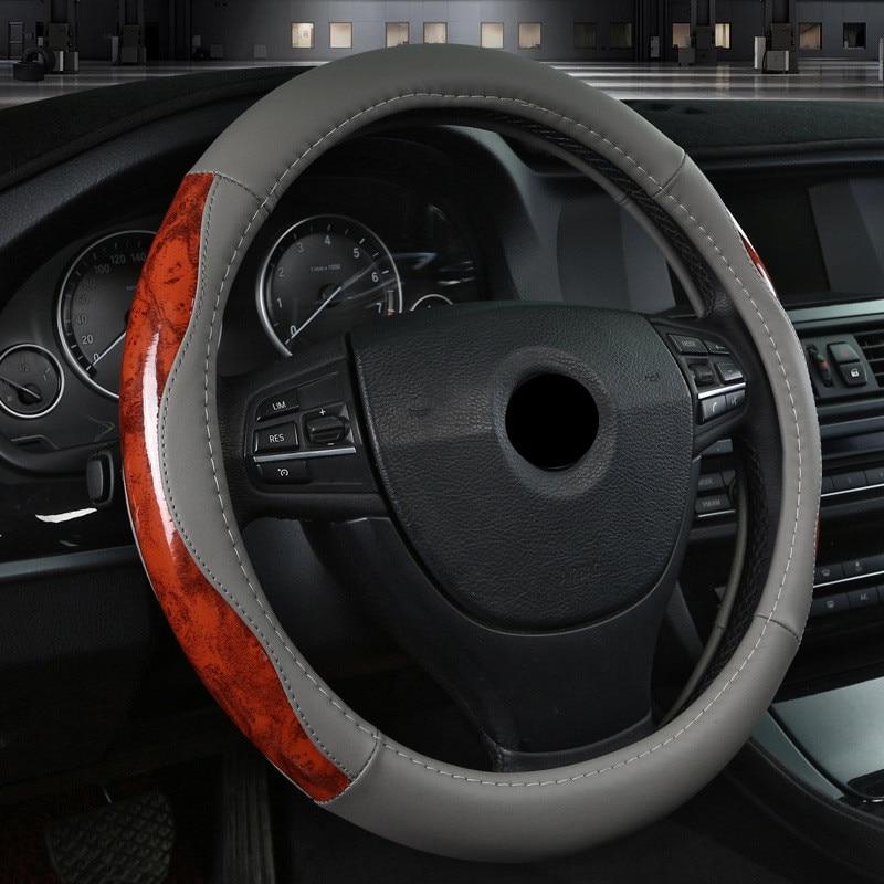 TENGRUI Leather Steering Wheel Cover for volkswagen vw passat b7/vw passat b8/vw gol/golf/polo direksiyon seti direksiyon