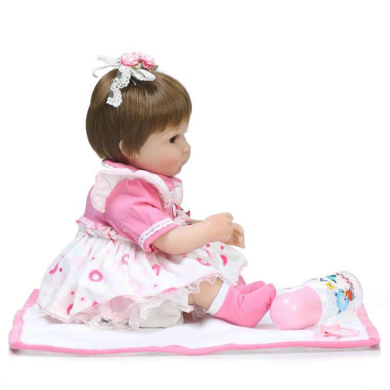 Kan zitten en liegen 17 Inch herboren pasgeboren Bay Doll zachte - Poppen en knuffels - Foto 5