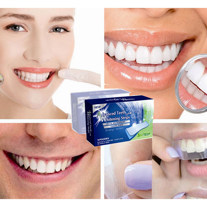 2pcs Lot Teeth Whitening Strips Gel Care Oral Hygiene Clareador