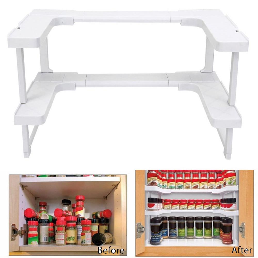 2018 New Arrivals Storage Holder Home Multi-function Adjustable Kitchen Shelf Bathroom Rack Stackable Storage Organizer