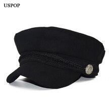 USPOP кепка шапка шерсти зимняя шапка осень плоские колпачки военные шапки женская шапка женские береты из