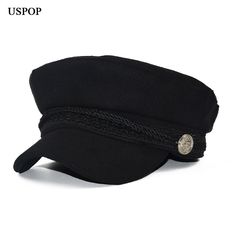USPOP Spring Cap  Autumn Fashion Women's Wool Hat British Style Warm Retro Newsboy Caps Military Octagonal Cap Female Visor Caps