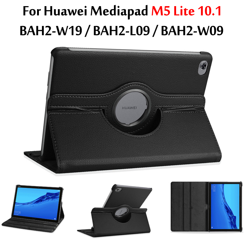 360 Rotating Case For Huawei MediaPad M5 Lite 10 Case BAH2-W09/W19/L09 10.1'' Tablet Smart Auto Sleep / Wake Stand Leather Cover