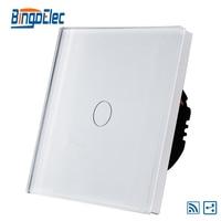EU UK 1gang 2way Wireless Remote Light Switch White Glass Panel AC110 240V Free Shipping