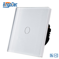 EU UK 1gang 2way Wireless Remote Light Switch White Glass Panel AC110 240V Free Shipping