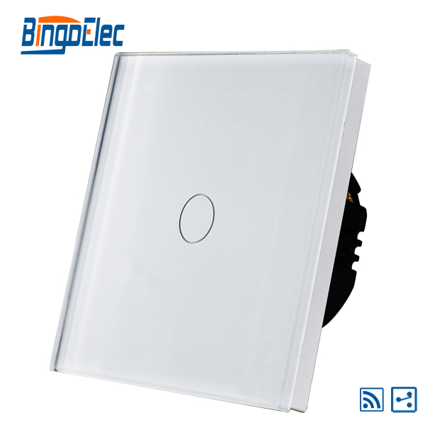EU UK 1gang 2way wireless remote light switch white glass panel AC110 240V Hot Sale