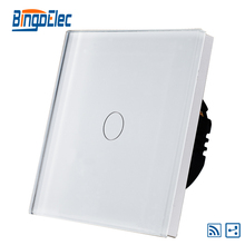 EU/UK 1gang 2way wireless remote light switch,white glass panel,AC110-240V,Hot Sale