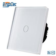 EU/UK 1 vías 1gang interruptor de control remoto inalámbrico de luz, panel de vidrio blanco, AC110-240V, Venta Caliente