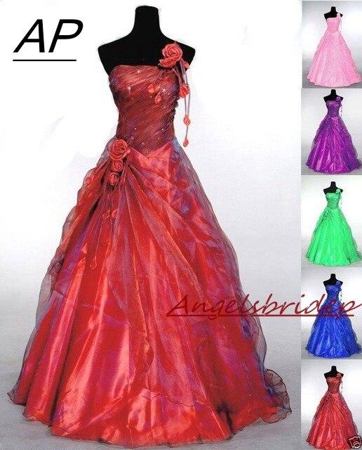 ANGELSBRIDEP כתף אחת Quinceanera שמלות 15 מפלגה סקסי עבודת יד פרח מקיר לקיר באורך טול 16 Vestido נשף מתוק שמלת